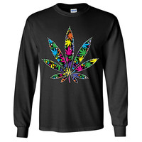 Neon Party Pot Leaf Long Sleeve Shirt
