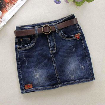 Summer Dark Blue Jeans Skirts Womens Bleached Skinny Pencil Skirts Pattern Cotton Above Knee Mini Shorts Denim Skirts 29061