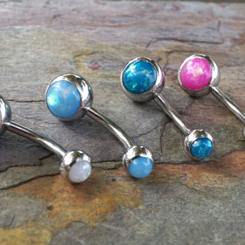 Pink Opal Belly Button Rings Synthetic Opal