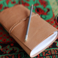 Leather Bound Journal - Handmade Leather Journal with Handmade Paper and Tie Fastener Best for Writing, Travel, Scrapbook
