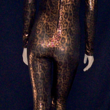 Metallic Gold and Bronze Leopard Spandex Unitard Catsuit Bodysuit Unisex - Small / Medium