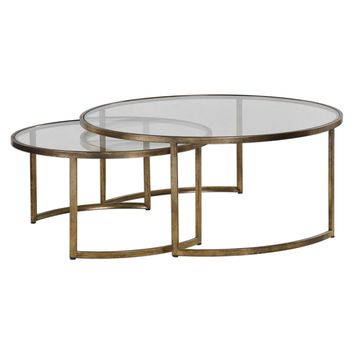 Rhea Contemporary Antiqued Gold Nesting Coffee Tables - Set of 2 by Uttermost