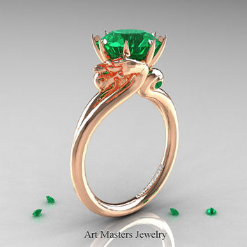 Art Masters Scandinavian 14K Rose Gold 3.0 Ct Emerald Dragon Engagement Ring R601-14KRGEM