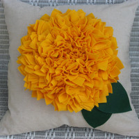Flower Pillow --- Decorative Pillow --- Throw Pillow --- Yellow Pillow --- Spring Decor --- Summer Decor --- Fall Decor --- Yellow Decor