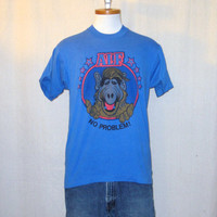 Vintage 80s ALF No PROBLEM GRAPHIC Television Show Alien Character Blue Amazing Unisex Medium 50/50 T-Shirt