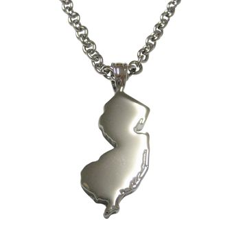 New Jersey State Map Shape Pendant Necklace