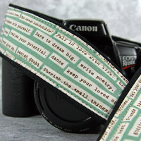 Aqua Happy Thoughts dSLR Camera Strap, Inspirational, SLR, Two Lengths available, Quick Release or plain ends 1 cw