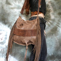 Milky brown taupe leather tribal croc leather fringe hobo bag artistan purse bohemian african jungle raw leather festival free people