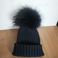 Black Friday Promotions Adult Women Ribbed Cuff Fur Pom Pom Beanies Crochet Knitted Warm Winter Hat With Hair Ball Top Black
