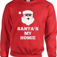 Funny Christmas Sweater Santa's My Homie Sweater Christmas Presents Holiday Season Ugly Xmas Sweater Unisex Hoodie - SA432
