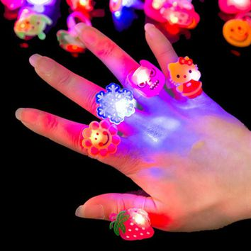 5pc/set Luminous Rings New Children's Toys Flash Gifts LED Cartoon Lights Glow In The Dark Toys For Childs Kids Playing In Night