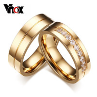 Vnox Trendy Gold Plated Cubic Zirconia Engagement Wedding Band Ring