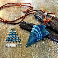 Native American agate arrowhead necklace, boho hippie jewelry