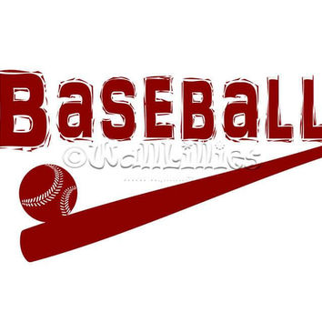 Baseball with Ball and Bat Design Decal