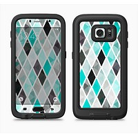 The Graytone Diamond Pattern with Teal Highlights Full Body Samsung Galaxy S6 LifeProof Fre Case Skin Kit