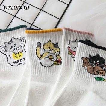 [WPLOIKJD]Femme Creative Cute Play Funny Socks Fashion Harajuku Fruit Women Socks Japanese Kawaii Pug Calcetines Mujer Sokken