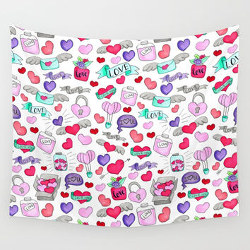 Lovely doodle drawing Valentine's Day gift Wall Tapestry by maria_so