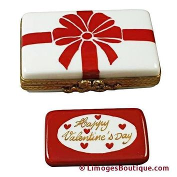 VALENTINE BOX WITH RED BOW - HAPPY VALENTINE'S DAY LIMOGES BOX