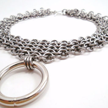 Stainless Steel Chainmail Bondage Collar by SerenityInChains