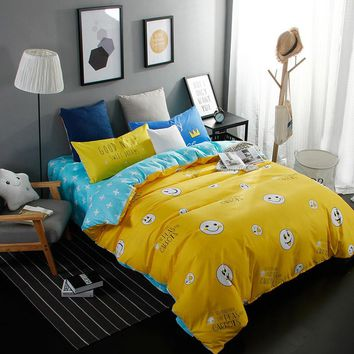 Cartoon smiling expression yellow stars linens 4pcs bedding sets high end cotton twin single double queen size duvet cover set