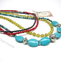 Bright multistrand necklace, multistrand, coral, lemon jade, howlite, chunky jewelry, red, blue and green necklace, bold necklace, colorful