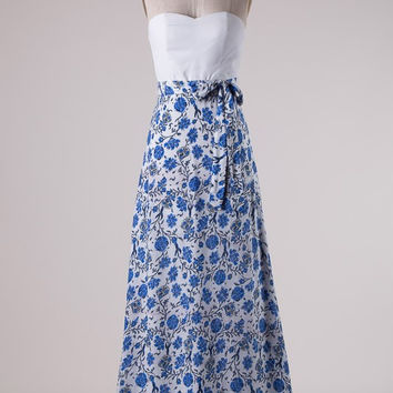 Fabulous Floral Maxi Dress - Blue