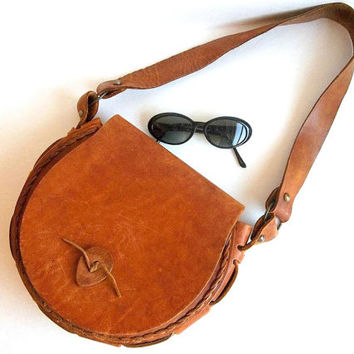Vintage Thick Leather Honey Brown Purse Boho handmade distressed leather handbag or shoulder bag structured tan Hippie saddle satchel bag