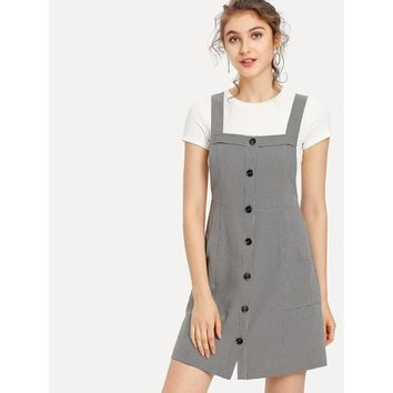 Button Up Pocket Front Plaid Pinafore Dress