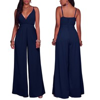 Comfortable  Sexy Women Summer Elegant Clubwear Spaghetti Strap Deep V Neck Wide Leg Long Jumpsuit Rompers Overalls