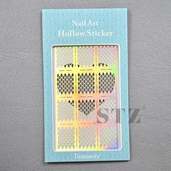 Nail Vinyls 20sylesHollow Irregular Stencils Stamp 13x8.5cm with Packing Nail Art Hollow Sticker Tips for Nail Art JV201-220