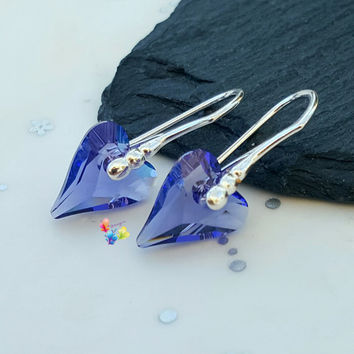 Tanzanite Crystal Wild Heart Earrings, Sterling Silver Earrings, Gift for Her, Crystal, girlfriend valentines day gift, sweetheart jewelry