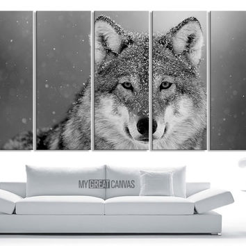 Large Wall Art 5 Panel Siberian Wolf Canvas Print - Framed Animal Canvas Printing - Giclee Print
