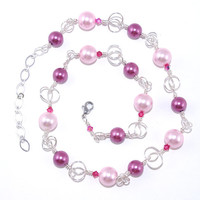 Light pink fuschia glass pearl bead wire wrap chain link necklace, Hot pink fuchsia Swarovski crystal, Silver plated adjustable claw clasp