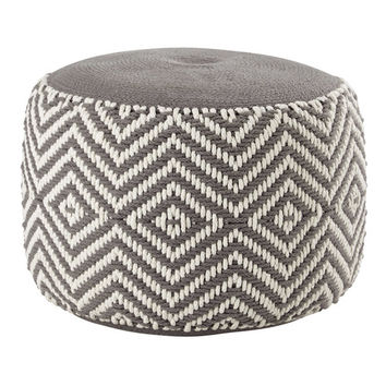 WARM cotton pouffe in grey / white | Maisons du Monde