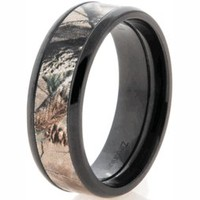 Black Zirconium RealTree AP Camo Wedding Ring