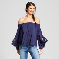 Women's Off the Shoulder Bell Sleeve Embroidered Knit Top - Xhilaration™