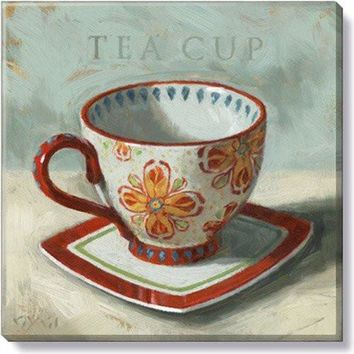 Gallery Wrap on Wood Frame ~ Tea Cup Red Pattern
