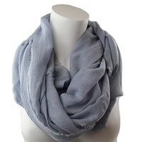 Pop Fashion Women's Solid Color Frayed Edge Luxury Infinity Scarf - 3 Color Options (Grey)
