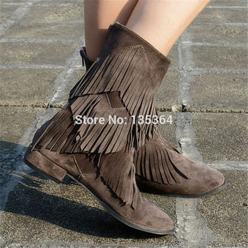 Sexy Lady Women Shoes Pointed Toe Ankle Boots Zipper Tassels Women Pumps Botas Mujer Autumn Winter Women Boots High Heel Booties