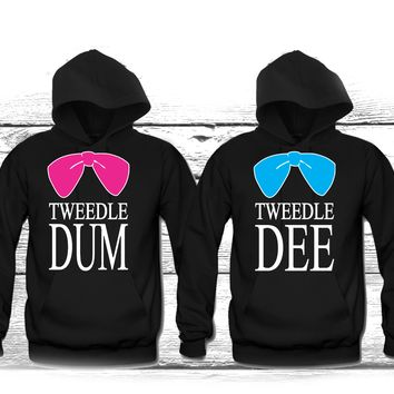 "Tweedle Dee - Tweedle DUM"" Cute Couples Matching Hoodies"""