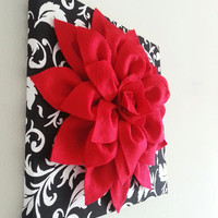 "Red Felt Wall Flower, 12""x12"" Flower Canvas, Canvas Art, Damask, Nursery Decor, Dahlia Flower"