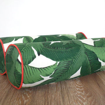 One bolster pillow 20x7, tropical outdoor bolster for lounge chair, palm leaf round pillow garden bench, outdoor bolster swaying palm fabric
