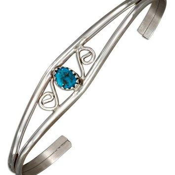 Sterling Silver Bracelet:  Scroll Design Wire Cuff Bracelet With Stabilized Turquoise