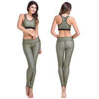 Army Green Scales Pattern Racer-back Crop Top and Pants Set