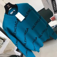 """""""Balenciaga"""" Women Fashion Letter Long Sleeve Pullover Knit Sweater Tops"""