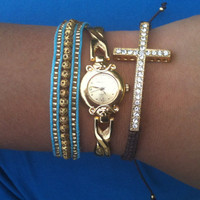 3 Piece Set- Watch and Arm Candy Bracelets Gold, Brown and Turquoise