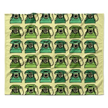 "Holly Helgeson ""Grandma's Telephone"" Green Yellow Fleece Throw Blanket"