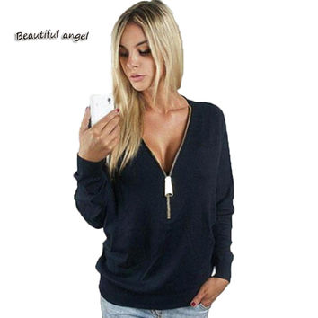 2017 New Stylish Lady Women Sexy Low Cut Wrap Long Sleeve Fitted V-neck Zipper Sweatshirts Casual Base shirt Tops