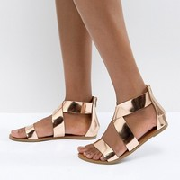 Glamorous Rose Gold Flat Sandals at asos.com
