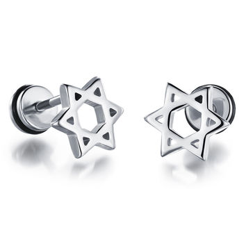 Men's titanium steel plating gold earrings personalized earrings simple hollow hexagram birthday gift GE309   WHITE
